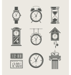 retro and modern clock set vector image vector image