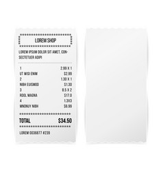 Sales printed receipt white paper blank vector