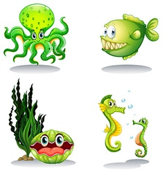 Sea animals in green color vector image vector image