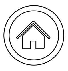 Silhouette circular frame with contour house icon vector