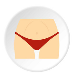 Slim woman body in red panties icon circle vector