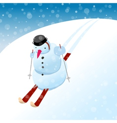 Snowman on skis vector image