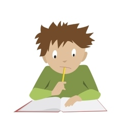 Studying boy student reading thinking schoolboy vector