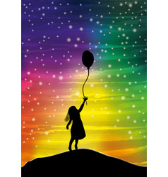 The girl with the balloon on the sky vector
