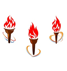 Three torches with fire flames vector