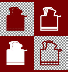 Toaster simple sign bordo and white icons vector