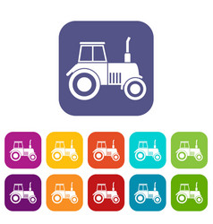 Tractor icons set vector