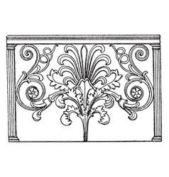 Trellis parapet plate of the parapet vintage vector