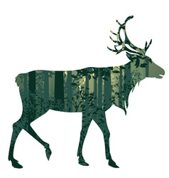 Deer and abstract forest landscape4 vector