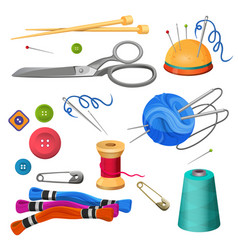 Set of accessories for sewing and handicraft vector