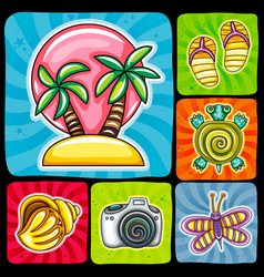 Swirl vacation icon or sticker set tropical vector