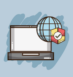Technology laptop with global and shield symbols vector