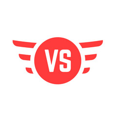 Red versus sign with wings vector