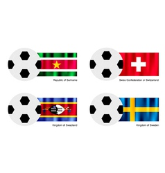 Soccer ball of suriname switzerland swaziland vector