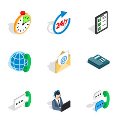 24 hours support icons isometric 3d style vector