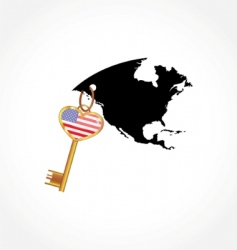 Key with american flag vector