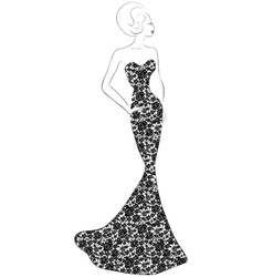 Evening lace dress vector