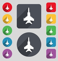 Fighter icon sign a set of 12 colored buttons and vector