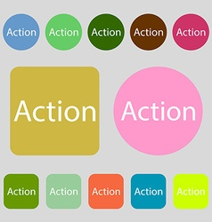 Action sign icon motivation button with arrow 12 vector