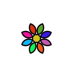 Colorful floral logo design flower painted in vector