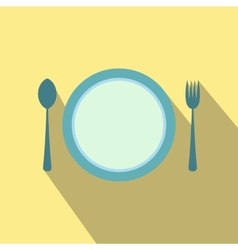 Cutlery set with plate flat icon vector