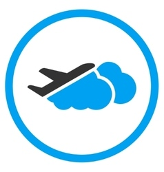 Airplane over clouds rounded icon vector