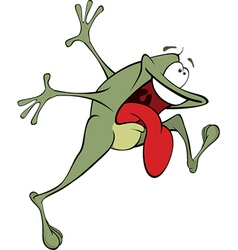 Green frog cartoon vector