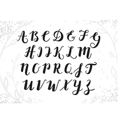 Hand drawn script alphabet letters written with a vector