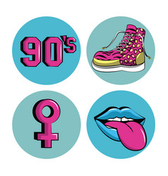 90s forever rounds icons vector image