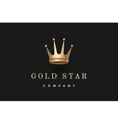 Logo with gold king crown and inscription gold vector