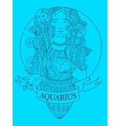 Aquarius zodiac sign coloring book vector
