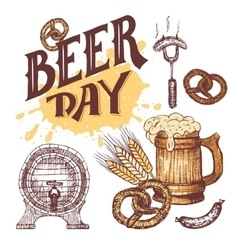 Beer day hand drawn elements set in sketch style vector image