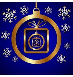 Blue gold decorative christmas greeting card vector