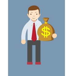Businessman or banker with a bag of gold cash vector