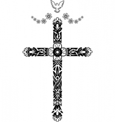 Cross with pigeon doodle graphic vector