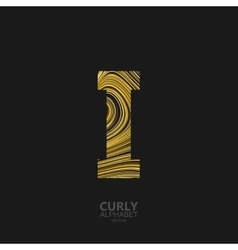 Curly textured Letter I vector image