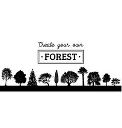 Different trees silhouettes create your vector