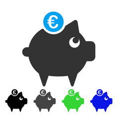 euro piggy bank flat icon vector image vector image