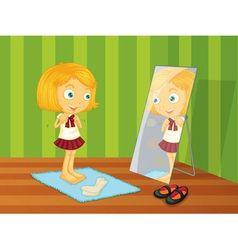 Girl and mirror vector image vector image