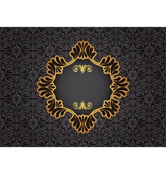 Gold vintage frame on black decorative background vector