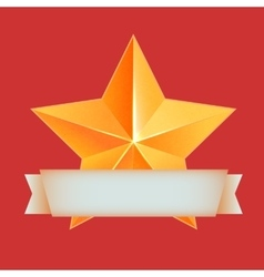 Golden 3d star with ribbon The best reward vector image vector image