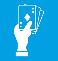 Hand holding playing cards icon white vector