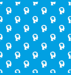 head with puzzle pattern seamless blue vector image vector image
