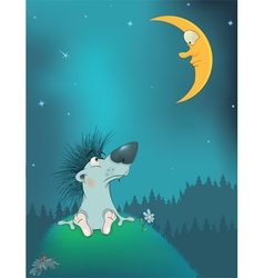 Hedgehog and the moon Cartoon vector image