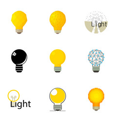 Lightbulb emblem icons set cartoon style vector