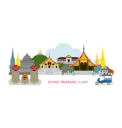 Luang prabang laos landmarks vector