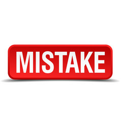 Mistake red 3d square button isolated on white vector