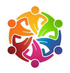People team hugging 6 logo vector