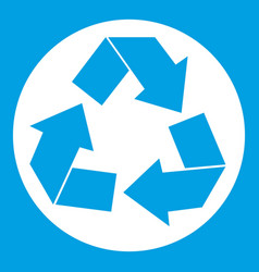 recycle sign icon white vector image vector image