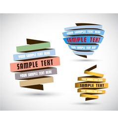 Set of origami papers with place for your own text vector image vector image